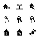 Vector black real estate icons set Royalty Free Stock Image