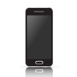 Vector black realistic mobile phone, smartphone isolated on white background. Royalty Free Stock Image