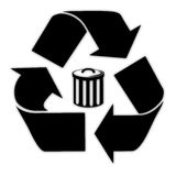 Vector black recycle bin Royalty Free Stock Images