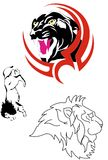 Vector black and red tatoo 8. Big cats for tatoo and clothes. Black and red colors Royalty Free Stock Photos