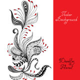 Vector black, red and white floral pattern Stock Photo