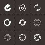 Vector black refresh icon set. On black background Royalty Free Stock Photography