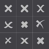 Vector black rejected icons set Royalty Free Stock Images
