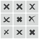 Vector black rejected icons set Stock Photos