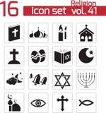 Vector black religion icons. Set Stock Photos
