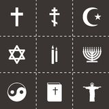 Vector black religion icons set. On black background Royalty Free Stock Images