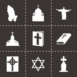 Vector black religion icons set Stock Photos