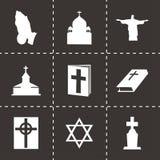 Vector black religion icons set Stock Photos