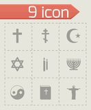 Vector black religion icons set Royalty Free Stock Photo