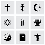 Vector black religion icons set Royalty Free Stock Image