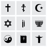 Vector black religion icons set Royalty Free Stock Image