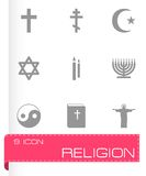Vector black religion icons set Stock Photography
