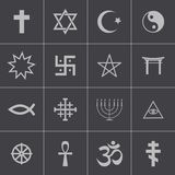 Vector black religious symbols set royalty free illustration