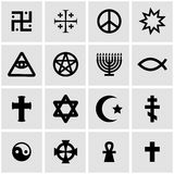 Vector black religious symbols set Royalty Free Stock Images