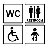 Vector  black restroom icons Royalty Free Stock Photo