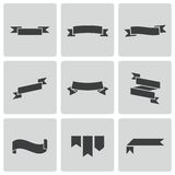 Vector black ribbon icons set Stock Photos