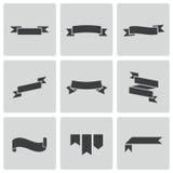 Vector black ribbon icons set Stock Photos