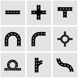 Vector black road elements icon set Royalty Free Stock Image