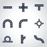 Vector black road elements icon set Royalty Free Stock Photo