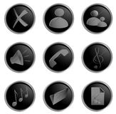 Vector black round web buttons Royalty Free Stock Images