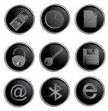 Vector black round web buttons Royalty Free Stock Photos