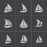 Vector black sailboat icons set Stock Images