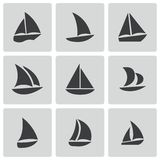 Vector black sailboat icons set Royalty Free Stock Photo