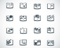 Vector black schoolbooks icon Royalty Free Stock Images