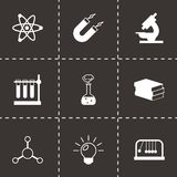 Vector black science icons set. On black background Stock Photo