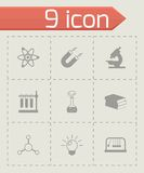 Vector black science icons set Stock Photos