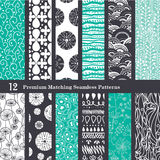Vector Black Sea Foam Green 12 Set Seamless Royalty Free Stock Photo