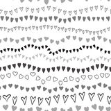 Vector black seamless heart pattern background on white. Stroke design Royalty Free Stock Photography