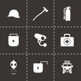 Vector black security icons set. On black background Royalty Free Stock Photography