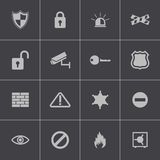 Vector black security icons set vector illustration
