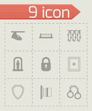 Vector black security icons set Stock Photography