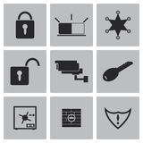 Vector black security icons set Stock Images