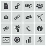 Vector black seo icons set Royalty Free Stock Photography