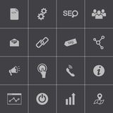 Vector black seo icons set Royalty Free Stock Photo
