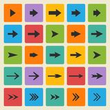 Vector black set of different vector arrows Royalty Free Stock Image