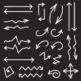 Vector black set of 26 hand drawn arrows Royalty Free Stock Images
