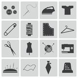 Vector black  sewing icons Royalty Free Stock Image