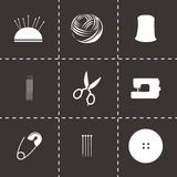 Vector black sewing icons set Stock Photo