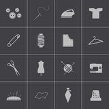 Vector black sewing icons set Stock Images