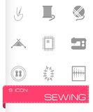 Vector black sewing icons set Royalty Free Stock Images