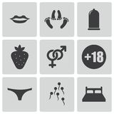 Vector black sex icons set Royalty Free Stock Photography