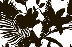 Black Shape Seamless Pattern with Drawn Flowers Plants. Vector Black Shape Decorative Seamless Background Pattern with Drawn Flowers, Branches. Hand Drawn Royalty Free Stock Photo