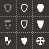 Vector black shield icon set Stock Photo