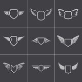 Vector black shield icons set Stock Photos