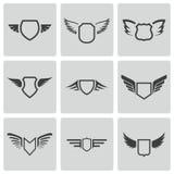 Vector black shield icons set. On white background vector illustration