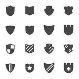 Vector black shield icons set Royalty Free Stock Photography